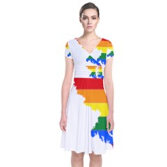 Lgbt Flag Map Of Maryland  Short Sleeve Front Wrap Dress
