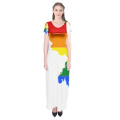 Lgbt Flag Map Of Maryland  Short Sleeve Maxi Dress