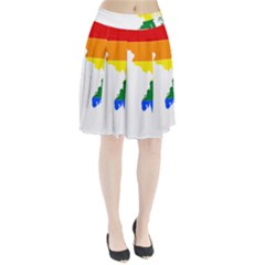 Lgbt Flag Map Of Maryland  Pleated Skirt
