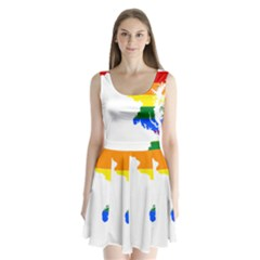 Lgbt Flag Map Of Maryland  Split Back Mini Dress