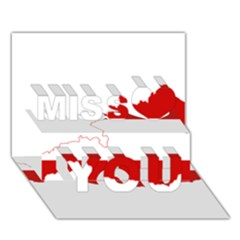 Flag Map Of Austria Miss You 3D Greeting Card (7x5)