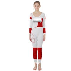 Flag Map Of Austria Long Sleeve Catsuit
