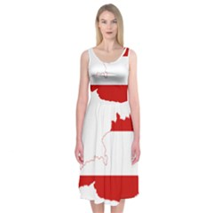 Flag Map Of Austria Midi Sleeveless Dress