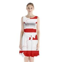 Flag Map Of Austria Sleeveless Waist Tie Dress