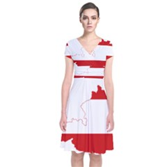 Flag Map Of Austria Short Sleeve Front Wrap Dress