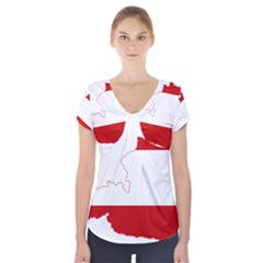 Flag Map Of Austria Short Sleeve Front Detail Top