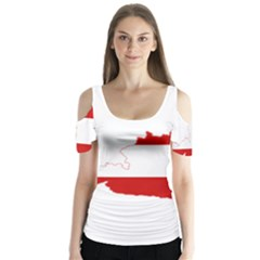 Flag Map Of Austria Butterfly Sleeve Cutout Tee