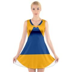 International Sign Of Civil Defense Roundel V-Neck Sleeveless Skater Dress