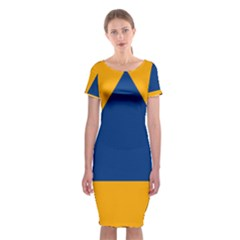 International Sign Of Civil Defense Roundel Classic Short Sleeve Midi Dress