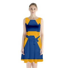 International Sign Of Civil Defense Roundel Sleeveless Waist Tie Dress