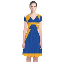 International Sign Of Civil Defense Roundel Short Sleeve Front Wrap Dress