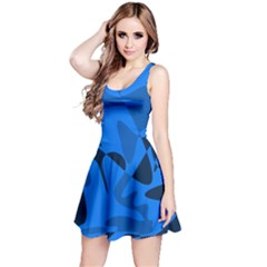 Blue pattern Reversible Sleeveless Dress