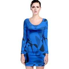 Blue pattern Long Sleeve Bodycon Dress