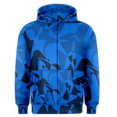 Blue pattern Men s Zipper Hoodie