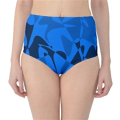 Blue pattern High-Waist Bikini Bottoms