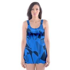 Blue pattern Skater Dress Swimsuit