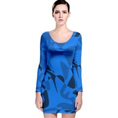 Blue pattern Long Sleeve Velvet Bodycon Dress