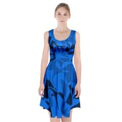 Blue pattern Racerback Midi Dress