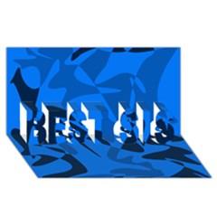 Blue pattern BEST SIS 3D Greeting Card (8x4)