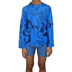 Blue pattern Kid s Long Sleeve Swimwear