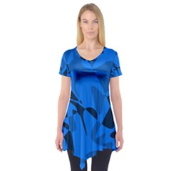 Blue pattern Short Sleeve Tunic
