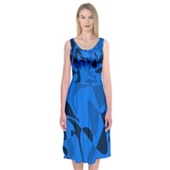 Blue pattern Midi Sleeveless Dress