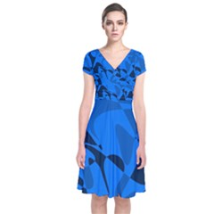 Blue Pattern Short Sleeve Front Wrap Dress