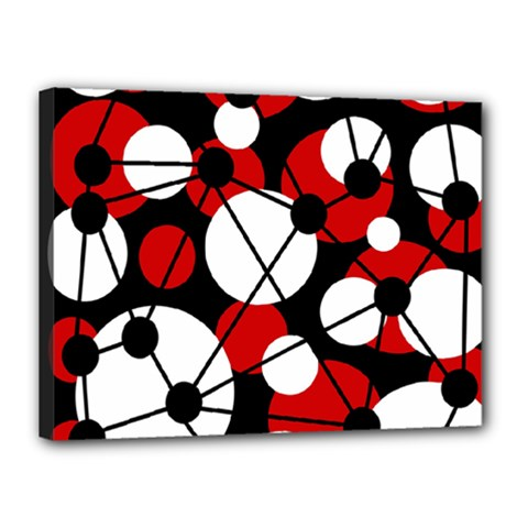 Red, black and white pattern Canvas 16  x 12