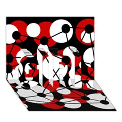 Red, black and white pattern GIRL 3D Greeting Card (7x5)