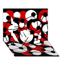 Red, black and white pattern LOVE 3D Greeting Card (7x5)
