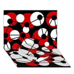 Red, black and white pattern Circle Bottom 3D Greeting Card (7x5)