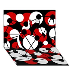 Red, black and white pattern Apple 3D Greeting Card (7x5)