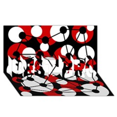 Red, black and white pattern BEST BRO 3D Greeting Card (8x4)