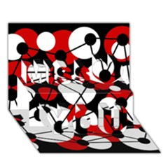 Red, black and white pattern Miss You 3D Greeting Card (7x5)