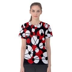 Red, black and white pattern Women s Cotton Tee
