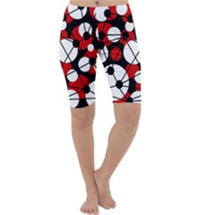 Red, black and white pattern Cropped Leggings
