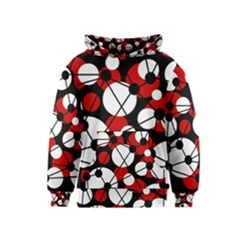 Red, black and white pattern Kids  Pullover Hoodie