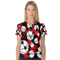 Red, black and white pattern Women s V-Neck Sport Mesh Tee