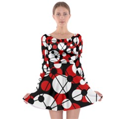 Red, black and white pattern Long Sleeve Skater Dress