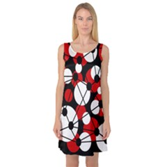Red, black and white pattern Sleeveless Satin Nightdress