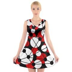 Red, black and white pattern V-Neck Sleeveless Skater Dress