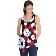Red, black and white pattern Sleeveless Tunic