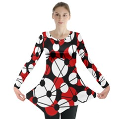 Red, black and white pattern Long Sleeve Tunic