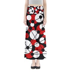 Red, black and white pattern Maxi Skirts