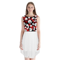 Red, black and white pattern Sleeveless Chiffon Dress