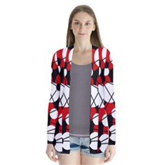 Red, black and white pattern Drape Collar Cardigan