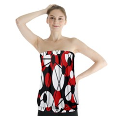Red, black and white pattern Strapless Top
