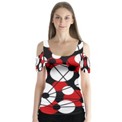 Red, Black And White Pattern Butterfly Sleeve Cutout Tee