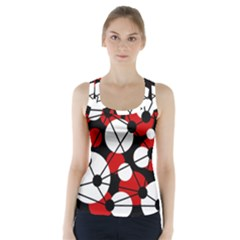 Red, black and white pattern Racer Back Sports Top