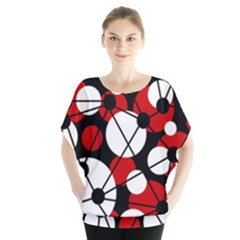 Red, Black And White Pattern Blouse